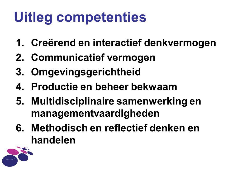 Uitleg competenties 1.Creërend en interactief denkvermogen 2.Communicatief vermogen 3.Omgevingsgerichtheid 4.Productie en beheer bekwaam 5.Multidiscip