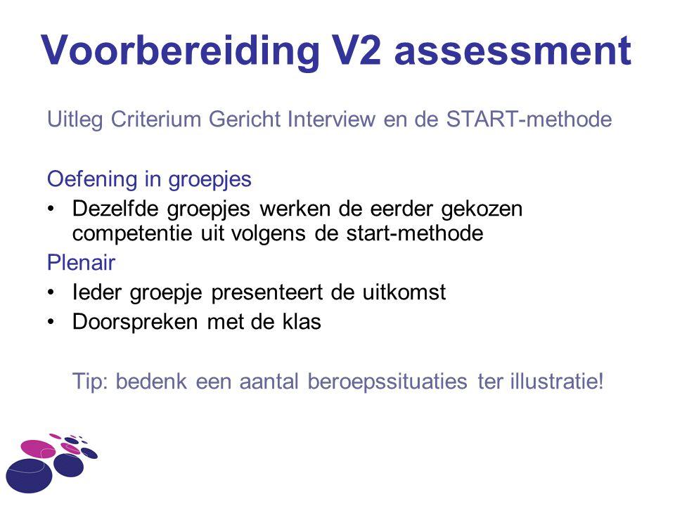Voorbereiding V2 assessment Uitleg Criterium Gericht Interview en de START-methode Oefening in groepjes Dezelfde groepjes werken de eerder gekozen com