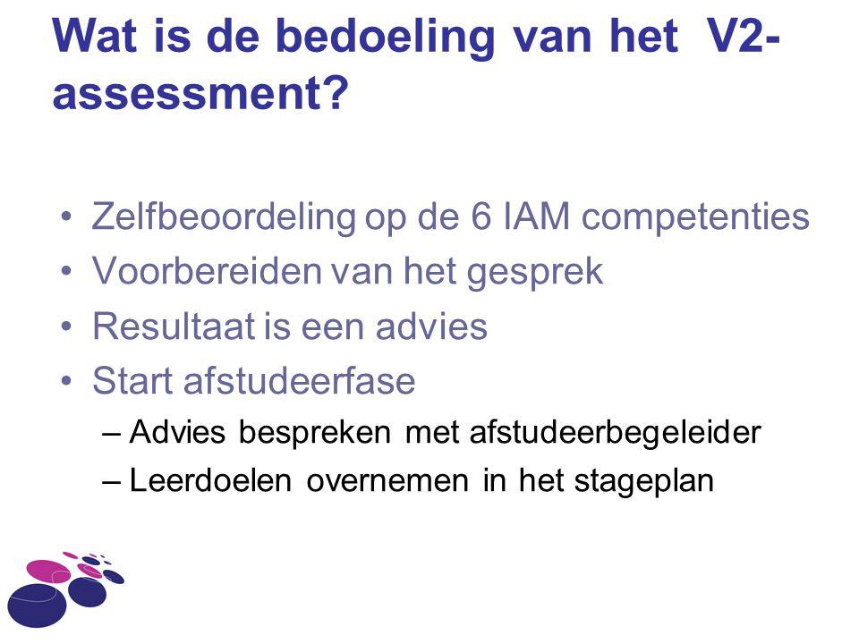 Wat is de bedoeling van het V2- assessment? Zelfbeoordeling op de 6 IAM competenties Voorbereiden van het gesprek Resultaat is een advies Start afstud