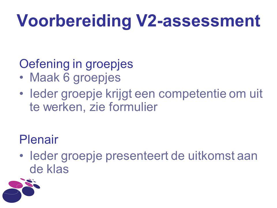 Voorbereiding V2-assessment Oefening in groepjes Maak 6 groepjes Ieder groepje krijgt een competentie om uit te werken, zie formulier Plenair Ieder gr