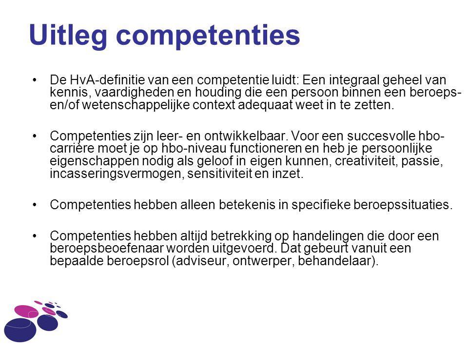 Uitleg competenties De HvA-definitie van een competentie luidt: Een integraal geheel van kennis, vaardigheden en houding die een persoon binnen een be