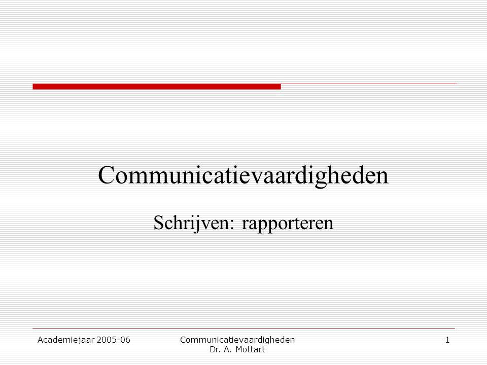 Academiejaar 2005-06 Communicatievaardigheden Dr. A. Mottart 1 Communicatievaardigheden Schrijven: rapporteren