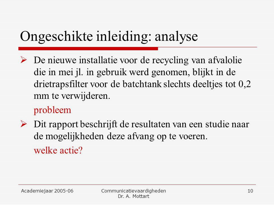 Academiejaar 2005-06 Communicatievaardigheden Dr. A. Mottart 10 Ongeschikte inleiding: analyse  De nieuwe installatie voor de recycling van afvalolie