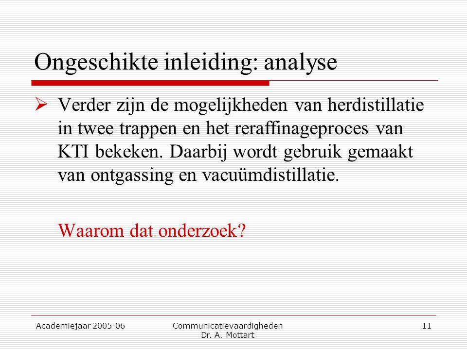 Academiejaar 2005-06 Communicatievaardigheden Dr. A. Mottart 11 Ongeschikte inleiding: analyse  Verder zijn de mogelijkheden van herdistillatie in tw