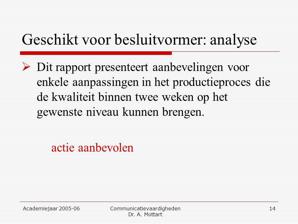 Academiejaar 2005-06 Communicatievaardigheden Dr. A. Mottart 14 Geschikt voor besluitvormer: analyse  Dit rapport presenteert aanbevelingen voor enke