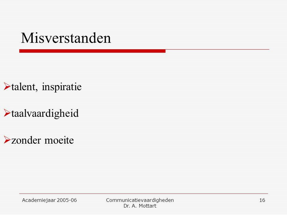 Academiejaar 2005-06 Communicatievaardigheden Dr. A. Mottart 16  talent, inspiratie  taalvaardigheid  zonder moeite Misverstanden