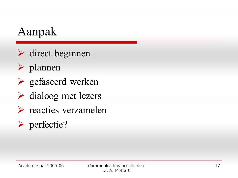 Academiejaar 2005-06 Communicatievaardigheden Dr. A. Mottart 17 Aanpak  direct beginnen  plannen  gefaseerd werken  dialoog met lezers  reacties