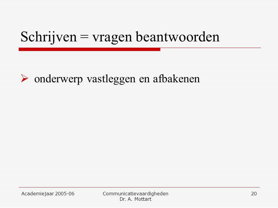 Academiejaar 2005-06 Communicatievaardigheden Dr. A. Mottart 20 Schrijven = vragen beantwoorden  onderwerp vastleggen en afbakenen