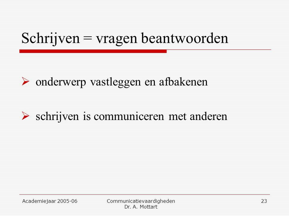 Academiejaar 2005-06 Communicatievaardigheden Dr. A. Mottart 23 Schrijven = vragen beantwoorden  onderwerp vastleggen en afbakenen  schrijven is com