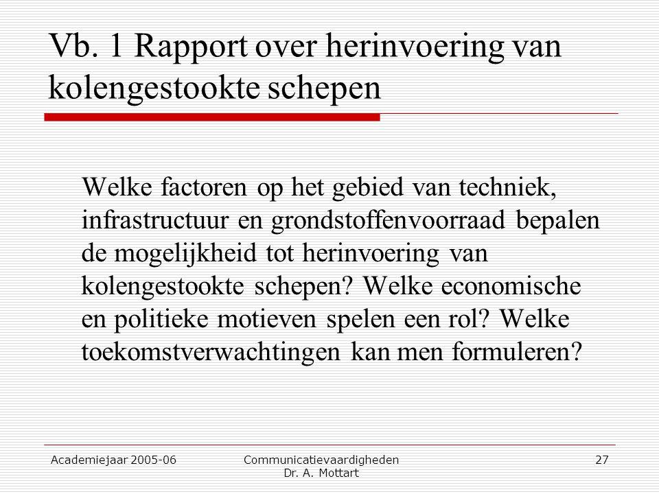 Academiejaar 2005-06 Communicatievaardigheden Dr. A. Mottart 27 Vb. 1 Rapport over herinvoering van kolengestookte schepen Welke factoren op het gebie