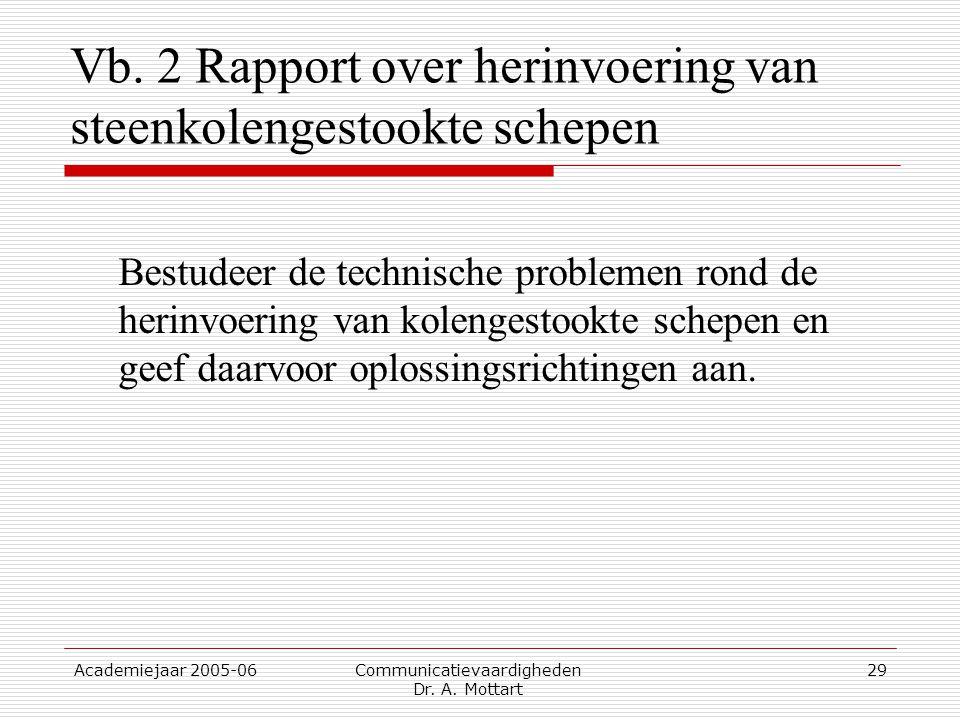Academiejaar 2005-06 Communicatievaardigheden Dr. A. Mottart 29 Vb. 2 Rapport over herinvoering van steenkolengestookte schepen Bestudeer de technisch