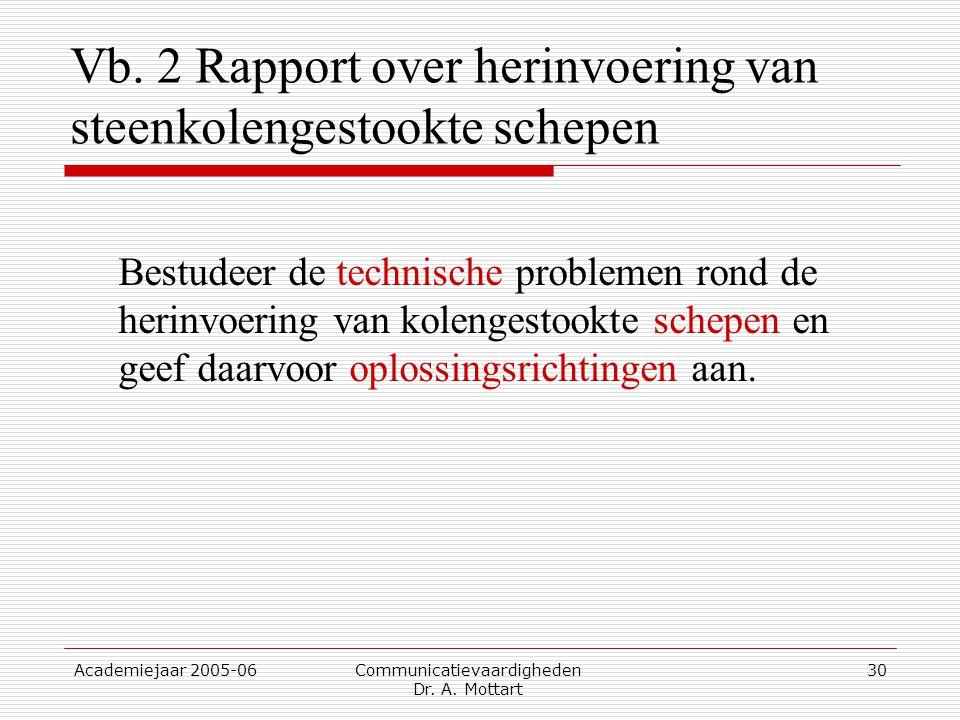 Academiejaar 2005-06 Communicatievaardigheden Dr. A. Mottart 30 Vb. 2 Rapport over herinvoering van steenkolengestookte schepen Bestudeer de technisch