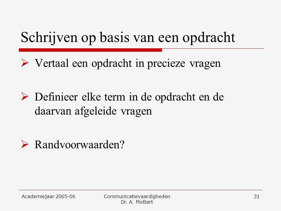 Academiejaar 2005-06 Communicatievaardigheden Dr. A. Mottart 31 Schrijven op basis van een opdracht  Vertaal een opdracht in precieze vragen  Defini