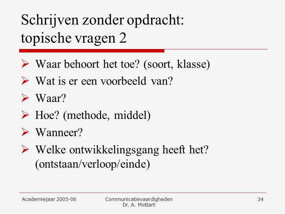 Academiejaar 2005-06 Communicatievaardigheden Dr. A. Mottart 34 Schrijven zonder opdracht: topische vragen 2  Waar behoort het toe? (soort, klasse) 