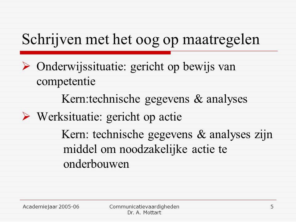 Academiejaar 2005-06 Communicatievaardigheden Dr. A. Mottart 5 Schrijven met het oog op maatregelen  Onderwijssituatie: gericht op bewijs van compete