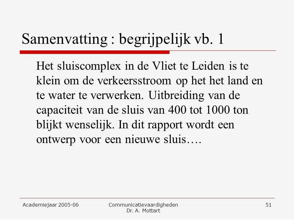 Academiejaar 2005-06 Communicatievaardigheden Dr. A. Mottart 51 Samenvatting : begrijpelijk vb. 1 Het sluiscomplex in de Vliet te Leiden is te klein o