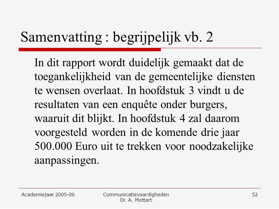 Academiejaar 2005-06 Communicatievaardigheden Dr. A. Mottart 52 Samenvatting : begrijpelijk vb. 2 In dit rapport wordt duidelijk gemaakt dat de toegan