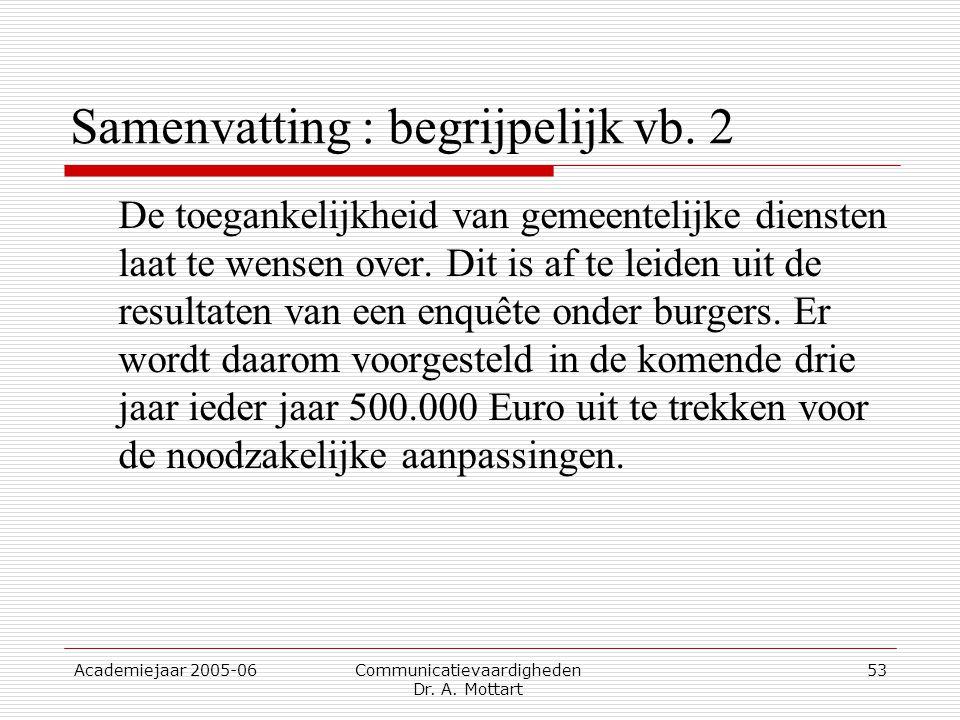 Academiejaar 2005-06 Communicatievaardigheden Dr. A. Mottart 53 Samenvatting : begrijpelijk vb. 2 De toegankelijkheid van gemeentelijke diensten laat