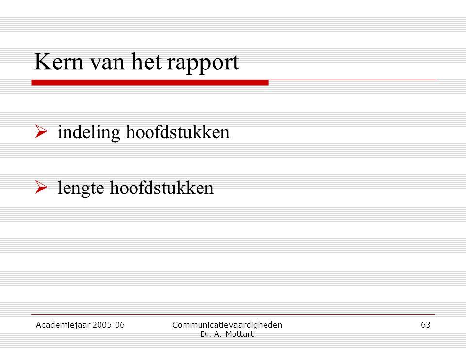 Academiejaar 2005-06 Communicatievaardigheden Dr. A. Mottart 63 Kern van het rapport  indeling hoofdstukken  lengte hoofdstukken