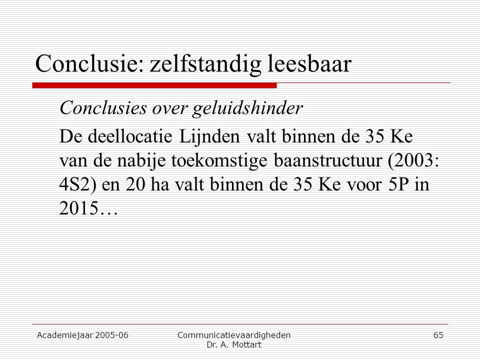 Academiejaar 2005-06 Communicatievaardigheden Dr. A. Mottart 65 Conclusie: zelfstandig leesbaar Conclusies over geluidshinder De deellocatie Lijnden v