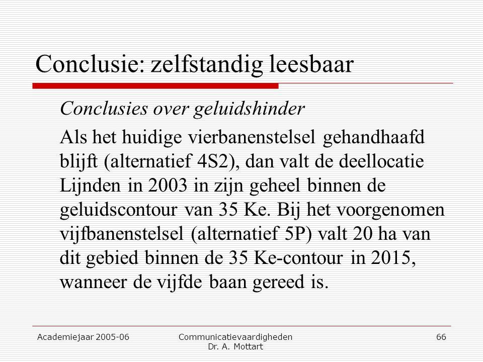 Academiejaar 2005-06 Communicatievaardigheden Dr. A. Mottart 66 Conclusie: zelfstandig leesbaar Conclusies over geluidshinder Als het huidige vierbane