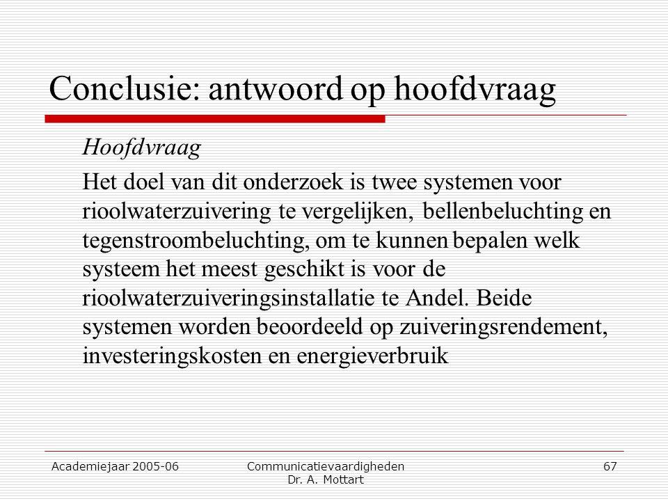 Academiejaar 2005-06 Communicatievaardigheden Dr. A. Mottart 67 Conclusie: antwoord op hoofdvraag Hoofdvraag Het doel van dit onderzoek is twee system