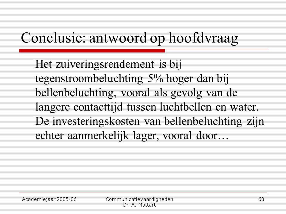 Academiejaar 2005-06 Communicatievaardigheden Dr. A. Mottart 68 Conclusie: antwoord op hoofdvraag Het zuiveringsrendement is bij tegenstroombeluchting