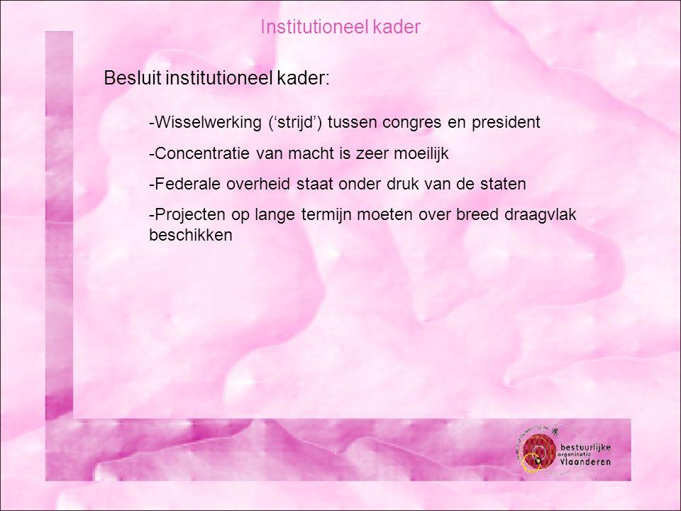 Institutioneel kader Besluit institutioneel kader: -Wisselwerking ('strijd') tussen congres en president -Concentratie van macht is zeer moeilijk -Fed