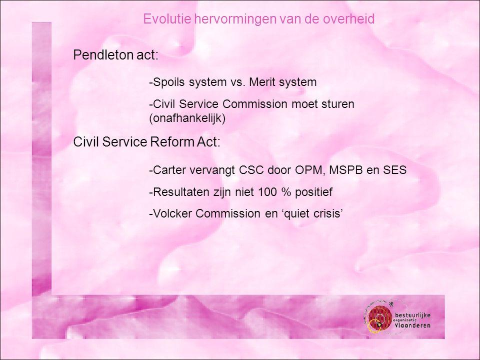 Evolutie hervormingen van de overheid Pendleton act: -Spoils system vs. Merit system -Civil Service Commission moet sturen (onafhankelijk) Civil Servi