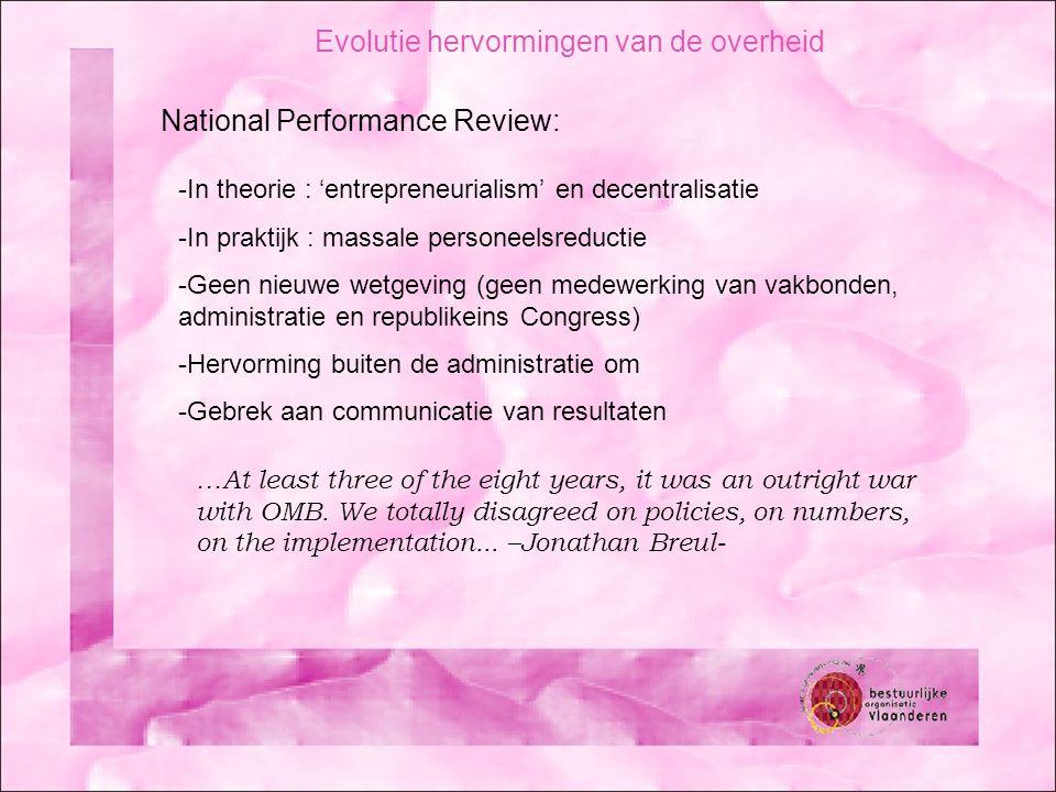 Evolutie hervormingen van de overheid National Performance Review: -In theorie : 'entrepreneurialism' en decentralisatie -In praktijk : massale person