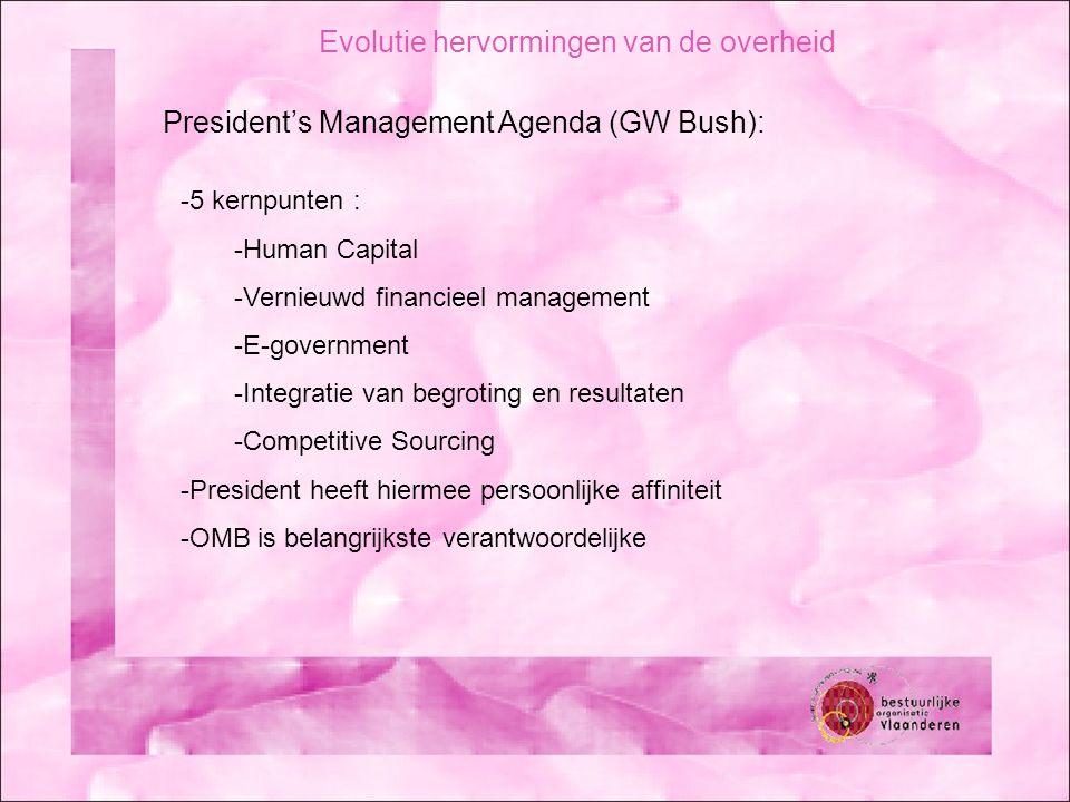Evolutie hervormingen van de overheid President's Management Agenda (GW Bush): -5 kernpunten : -Human Capital -Vernieuwd financieel management -E-government -Integratie van begroting en resultaten -Competitive Sourcing -President heeft hiermee persoonlijke affiniteit -OMB is belangrijkste verantwoordelijke