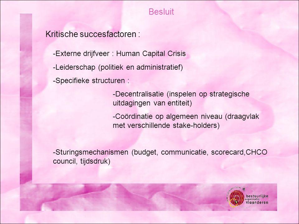 Besluit Kritische succesfactoren : -Externe drijfveer : Human Capital Crisis -Leiderschap (politiek en administratief) -Specifieke structuren : -Decentralisatie (inspelen op strategische uitdagingen van entiteit) -Coördinatie op algemeen niveau (draagvlak met verschillende stake-holders) -Sturingsmechanismen (budget, communicatie, scorecard,CHCO council, tijdsdruk)
