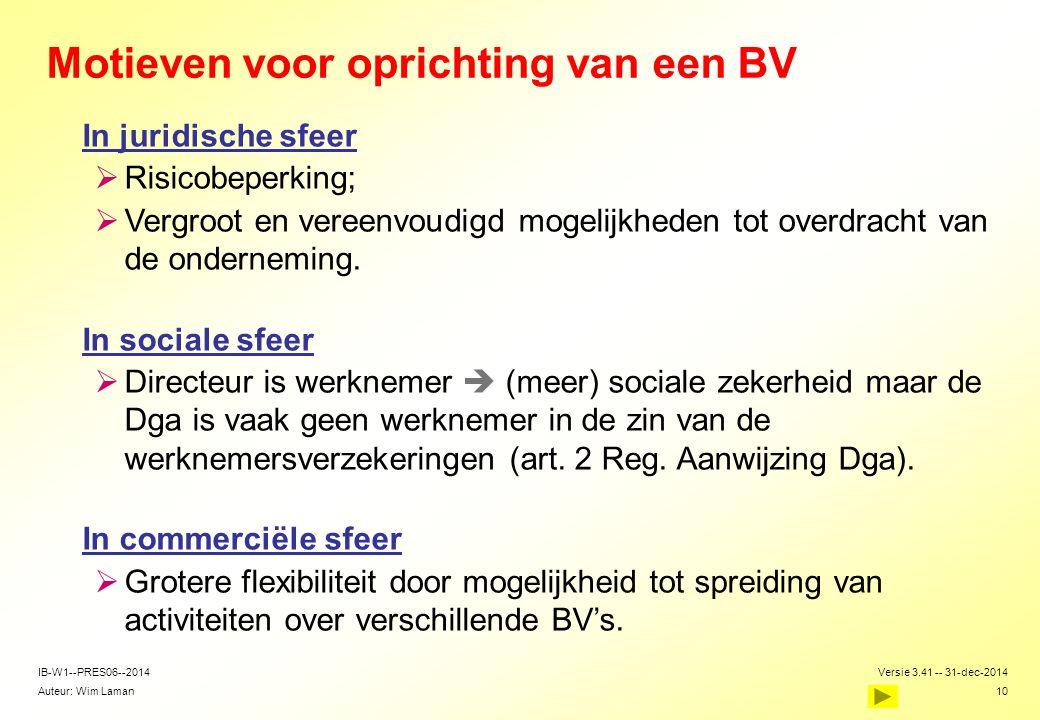 Auteur: Wim Laman Versie 3.41 -- 31-dec-2014 10 IB-W1--PRES06--2014 Motieven voor oprichting van een BV In juridische sfeer  Risicobeperking;  Vergr