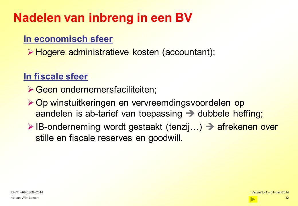 Auteur: Wim Laman Versie 3.41 -- 31-dec-2014 12 IB-W1--PRES06--2014 Nadelen van inbreng in een BV In economisch sfeer  Hogere administratieve kosten