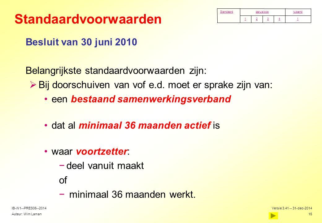 Auteur: Wim Laman Versie 3.41 -- 31-dec-2014 15 IB-W1--PRES06--2014 Standaardvoorwaarden Besluit van 30 juni 2010  Belangrijkste standaardvoorwaarden