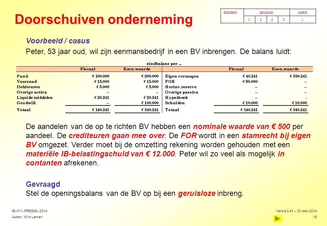 Auteur: Wim Laman Versie 3.41 -- 31-dec-2014 18 IB-W1--PRES06--2014 Doorschuiven onderneming  Voorbeeld / casus  Peter, 53 jaar oud, wil zijn eenman