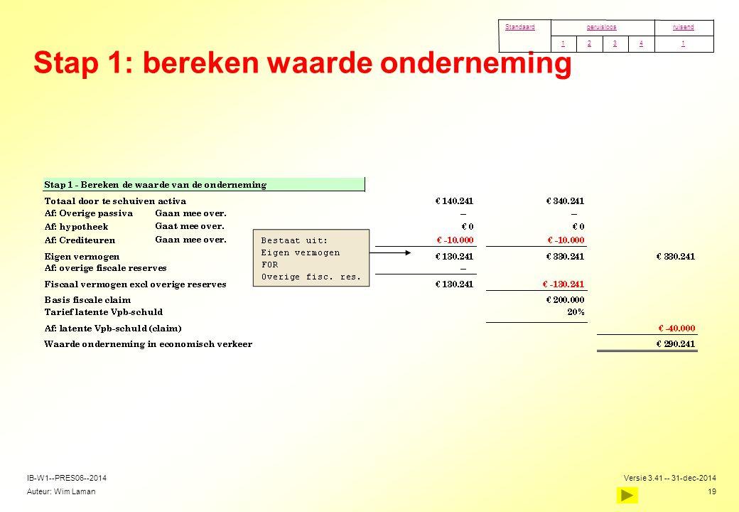 Auteur: Wim Laman Versie 3.41 -- 31-dec-2014 19 IB-W1--PRES06--2014 Stap 1: bereken waarde onderneming 14321 ruisendgeruisloosStandaard