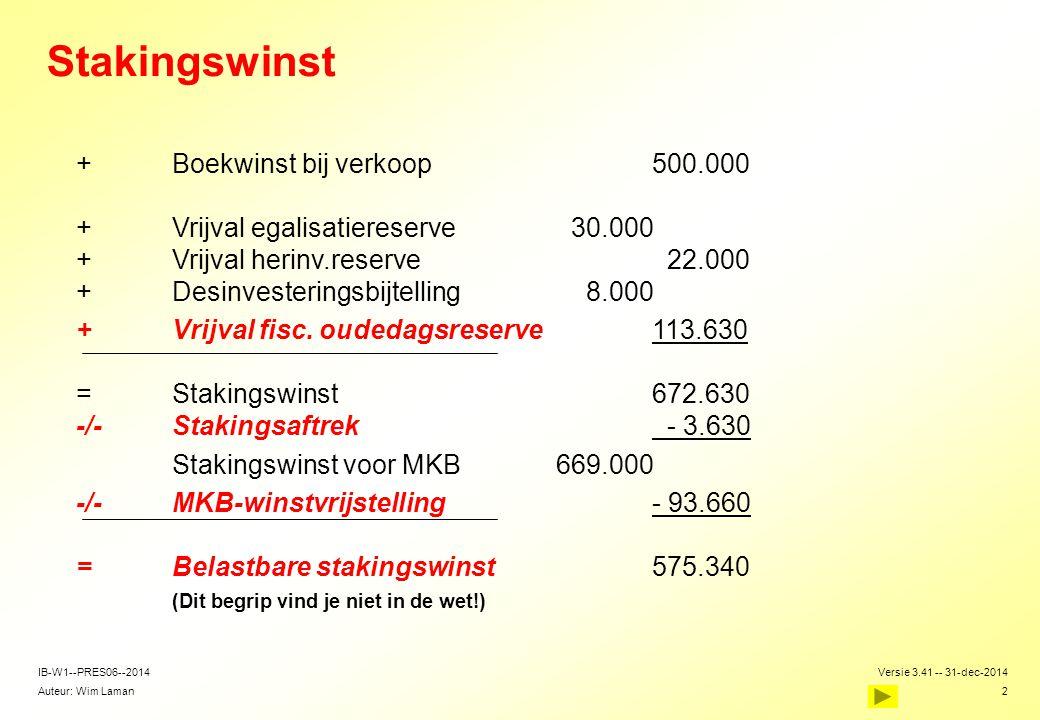 Auteur: Wim Laman Versie 3.41 -- 31-dec-2014 2 IB-W1--PRES06--2014 Stakingswinst  +Boekwinst bij verkoop500.000 +Vrijval egalisatiereserve 30.000 +Vr