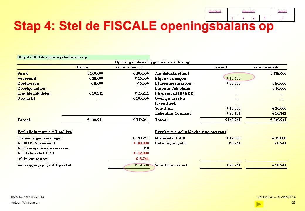 Auteur: Wim Laman Versie 3.41 -- 31-dec-2014 23 IB-W1--PRES06--2014 Stap 4: Stel de FISCALE openingsbalans op 14321 ruisendgeruisloosStandaard