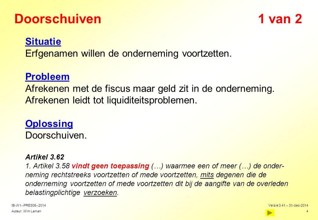 Auteur: Wim Laman Versie 3.41 -- 31-dec-2014 4 IB-W1--PRES06--2014 Doorschuiven1 van 2  Situatie  Erfgenamen willen de onderneming voortzetten.  Pr