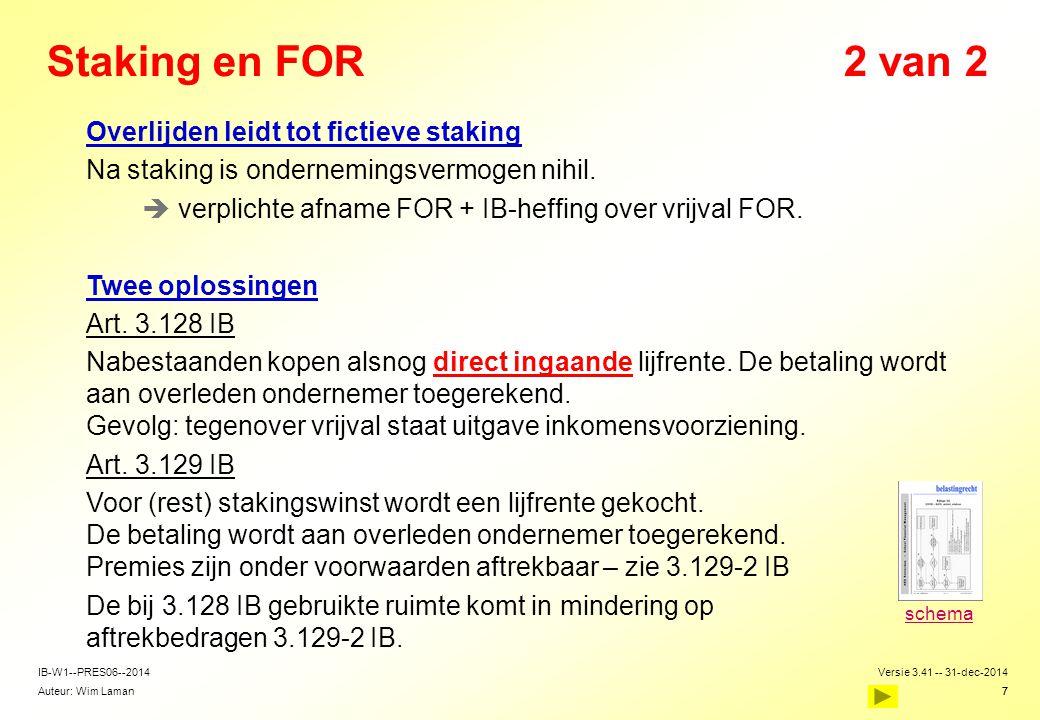 Auteur: Wim Laman Versie 3.41 -- 31-dec-2014 7 IB-W1--PRES06--2014 7 Staking en FOR2 van 2  Overlijden leidt tot fictieve staking  Na staking is ond