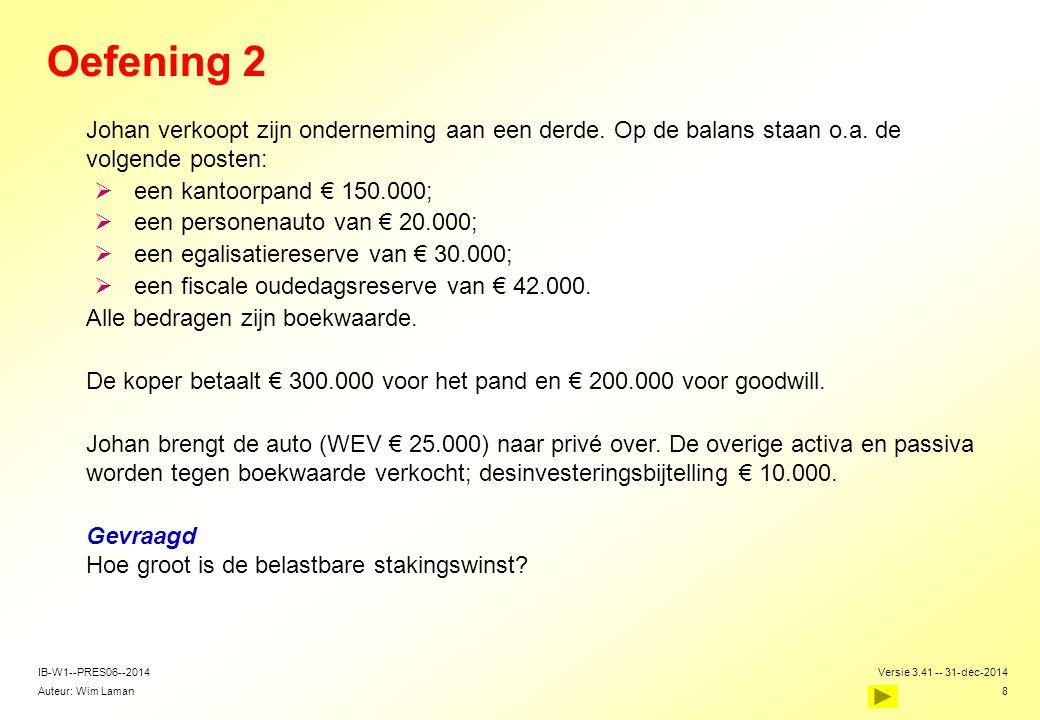 Auteur: Wim Laman Versie 3.41 -- 31-dec-2014 8 IB-W1--PRES06--2014 Oefening 2  Johan verkoopt zijn onderneming aan een derde. Op de balans staan o.a.