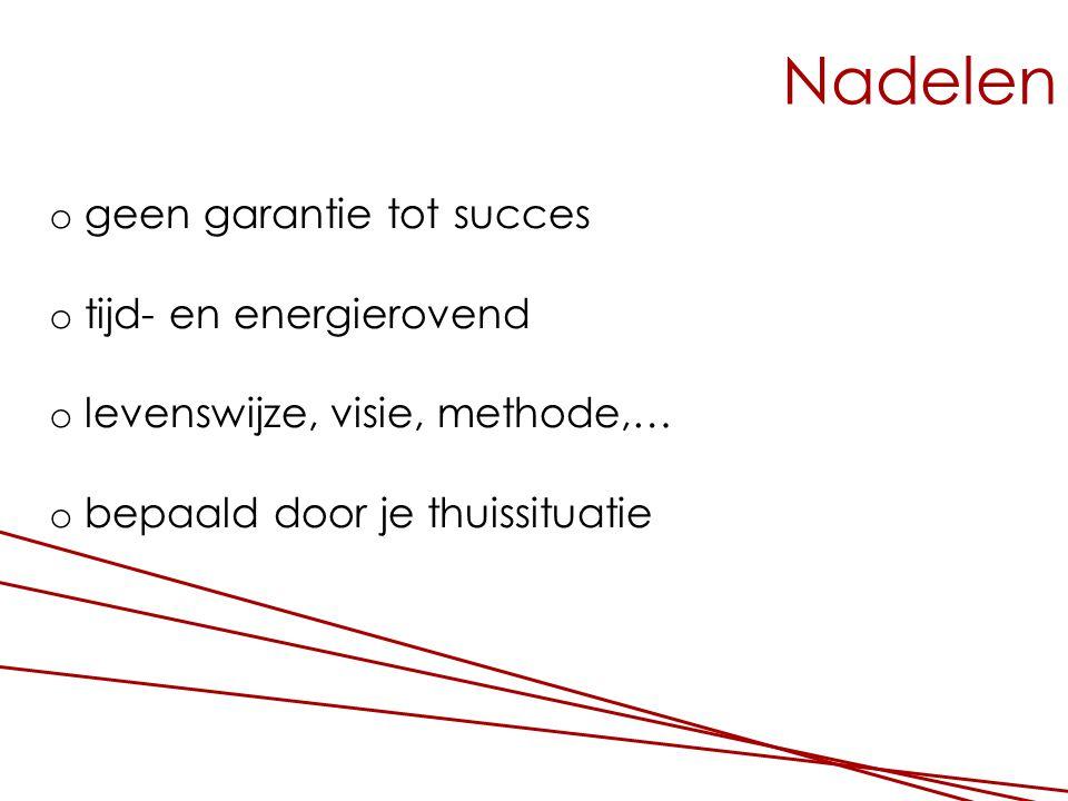 Nadelen o geen garantie tot succes o tijd- en energierovend o levenswijze, visie, methode,… o bepaald door je thuissituatie