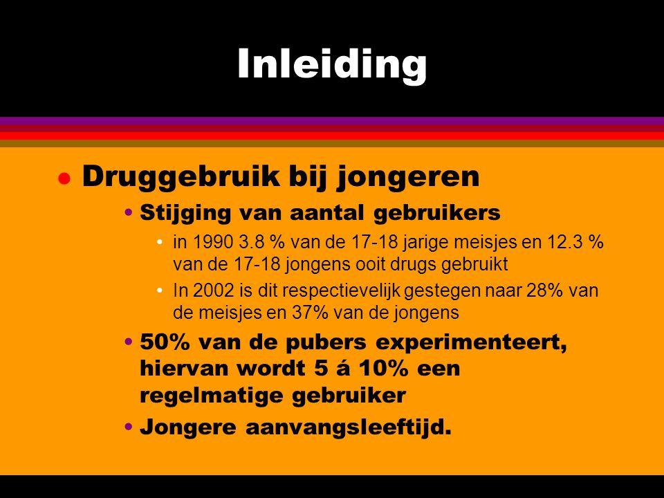 Inleiding l Druggebruik bij jongeren Stijging van aantal gebruikers in 1990 3.8 % van de 17-18 jarige meisjes en 12.3 % van de 17-18 jongens ooit drug