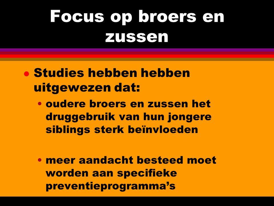 Focus op broers en zussen l Studies hebben hebben uitgewezen dat: oudere broers en zussen het druggebruik van hun jongere siblings sterk beïnvloeden m