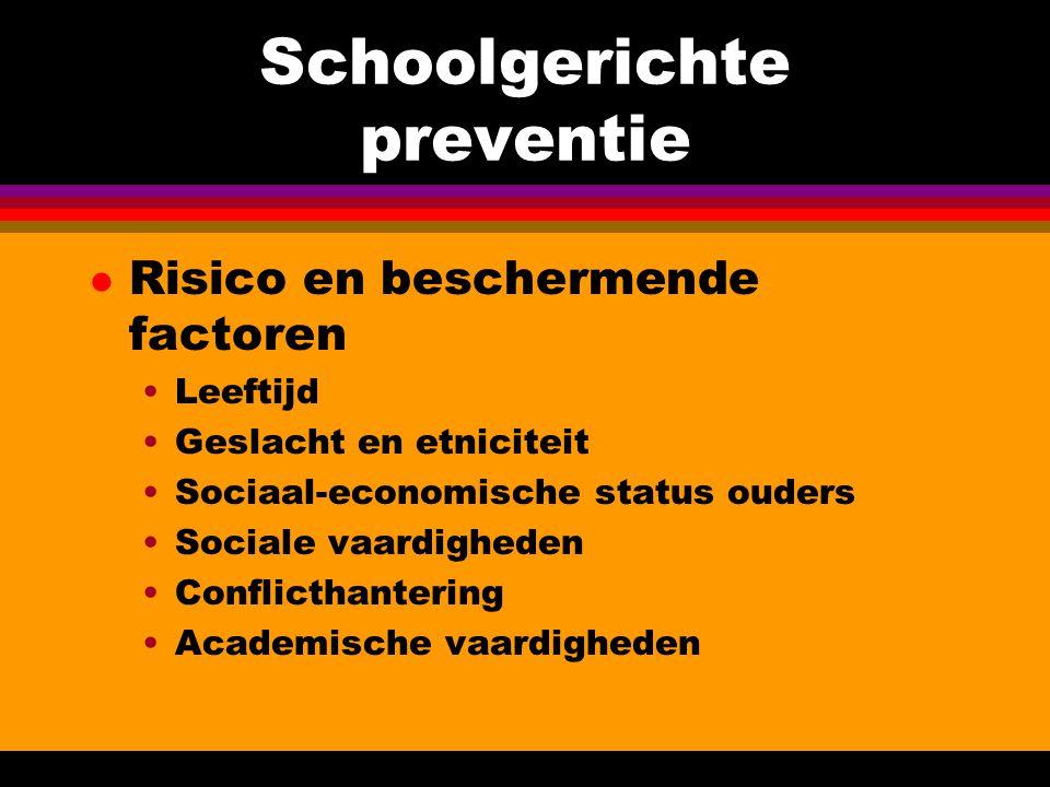 Schoolgerichte preventie l Risico en beschermende factoren Leeftijd Geslacht en etniciteit Sociaal-economische status ouders Sociale vaardigheden Conf