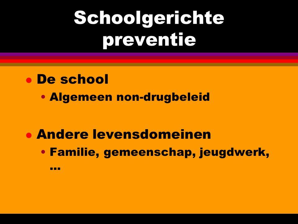 Schoolgerichte preventie l De school Algemeen non-drugbeleid l Andere levensdomeinen Familie, gemeenschap, jeugdwerk,...