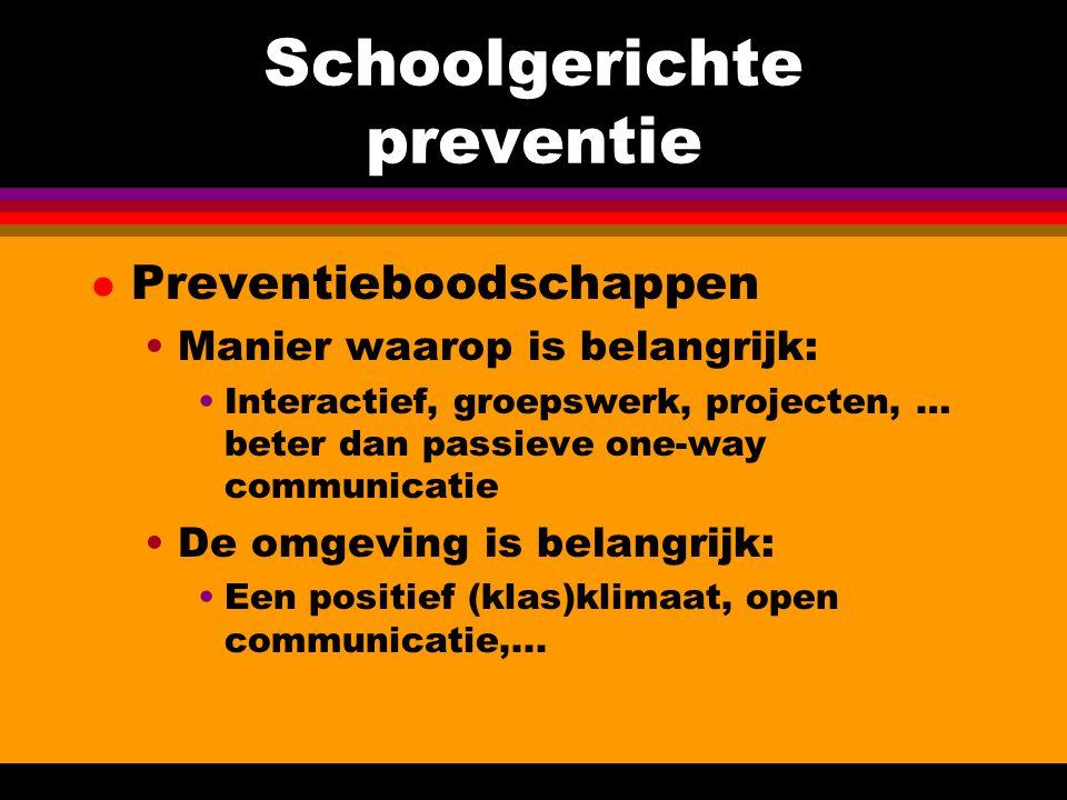 Schoolgerichte preventie l Preventieboodschappen Manier waarop is belangrijk: Interactief, groepswerk, projecten, … beter dan passieve one-way communi