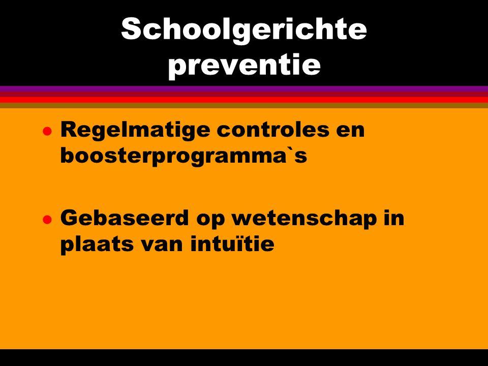 Koppeling tussen school- en gezinsgerichte preventie l Beide programma's hebben voor- en nadelen primair versus secundair/tertiair bereikbaarheid (doelgroep) l Beide programma's vullen elkaar aan