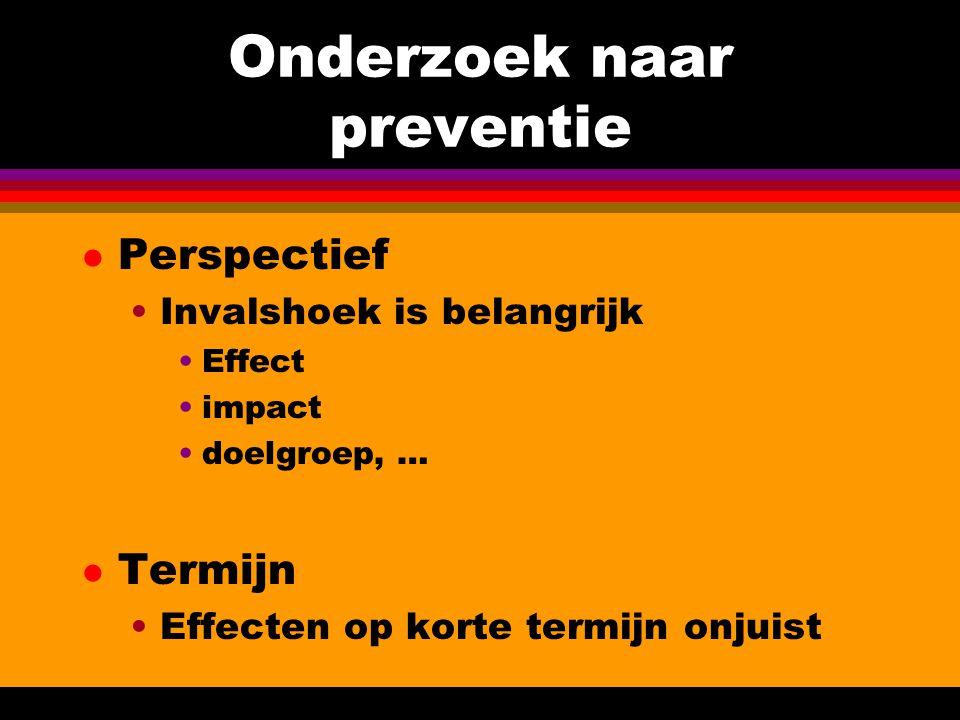 Onderzoek naar preventie l Perspectief Invalshoek is belangrijk Effect impact doelgroep, … l Termijn Effecten op korte termijn onjuist